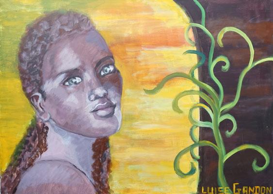 Acryl auf Leinwand - 100/80 cm  African beauty (door)