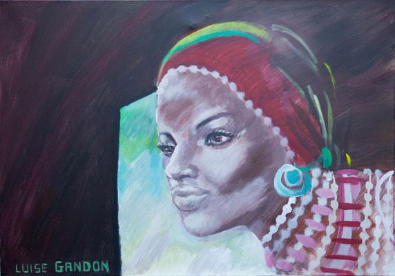 Acryl auf Leinwand – 100 x 70 cm  African beauty (window)