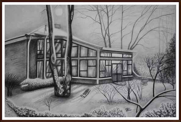 """Bleistiftzeichnung ,,Wintergarten""""  50X70 cm"""