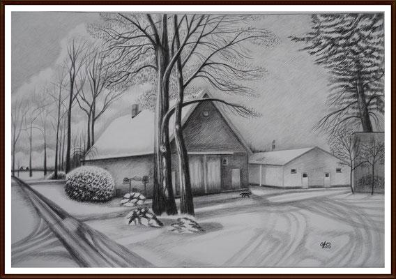 """Bleistiftzeichnung ,,Unser Ferienhaus"""" 50X70 cm"""