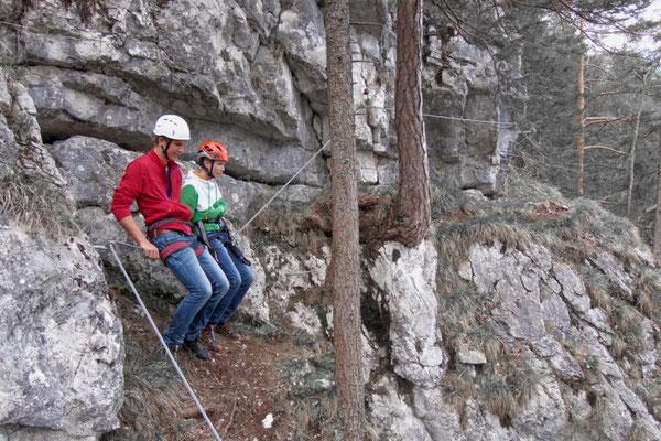Pause am Klettersteig Poppenberg in der Klettersteigarena Pyhrn Priel