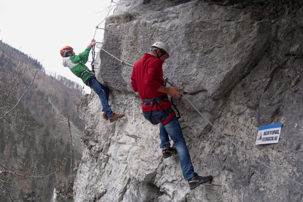 Einstieg beim Poppenberg Klettersteig in Hinterstoder