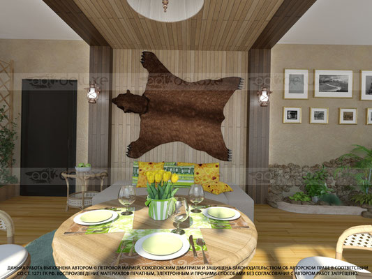 дизайн интерьера зимнего сада, обеденная зона