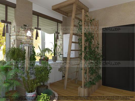 дизайн интерьера зимнего сада, цветник, фонтан