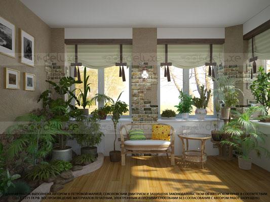дизайн интерьера зимнего сада, зона отдыха