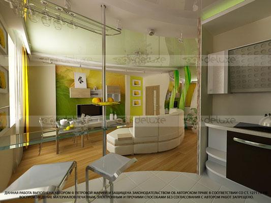 Дизайн кухни-гостиной.