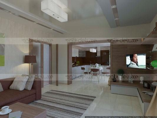 дизайн гостиной вид на кухню