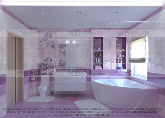 дизайн ванной комнаты PORCELANITE (Испания) 7015/7016/7017 Серия (Lavanda-Fucsia)