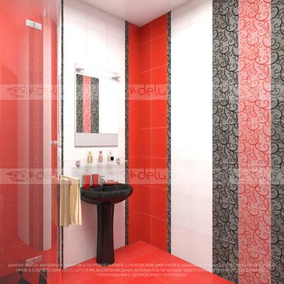 дизайн ванной комнаты Береза Керамика Капри красный