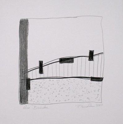 Die Brücke, Bleistift auf Papier