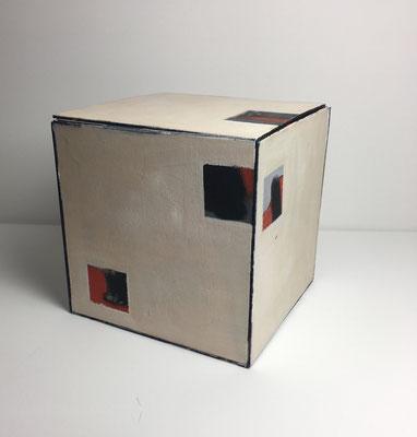 Außenseite Öl auf Malplatte ( 6 Malplatten jeweils bemalt und zu Quadratische Kistchen zusammen geklebt)