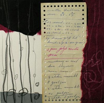 Collage 30 cm x 30 cm Gerahmt / Mit Handgeschriebenem Text eines Strickanleitung