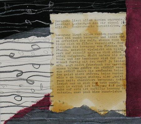 Collage 30 cm x 30 cm Gerahmt /   mit Schreibmaschinen Text
