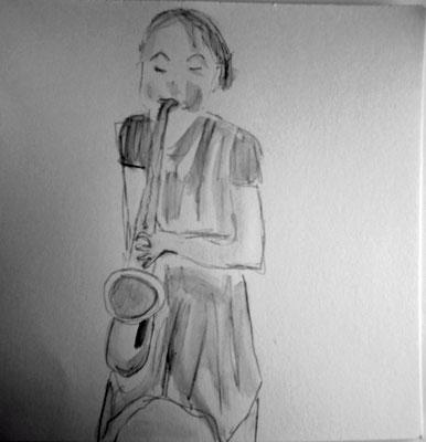 Die Saxofon Spielerin