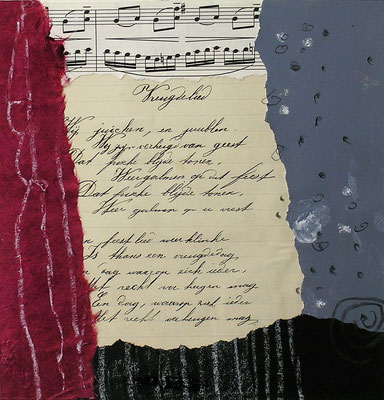 Collage 309 cm x 30 cm Gerahmt / Mit handgeschriebenem Text  aus 1917  von Meiner Großmutter