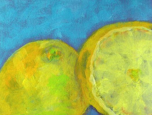 Zitrone Acryl auf Papier