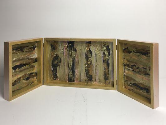 Altärchen für Traurige und glückliche Tage-Innenseite. Acryl-Collage-Enkaustik auf Holz. (H.20 cm B.30 cm T. 6 cm)