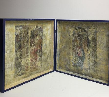 Altärchen von MaRia für Maria -  Innenseite.  Acryl-Collage-Enkaustik auf Holz (H.30 cm x B .30 cm x T. 6 cm)