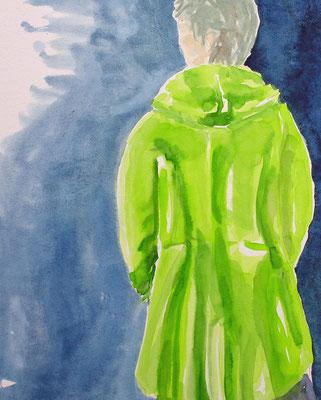 Der Frosch-grüne Mantel,  Aquarell