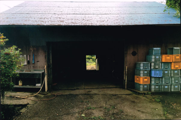 奥に広大な農地が広がる農作業小屋