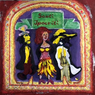 heuchlerische Heilige, Restfarben auf Kekskarton ... und da waren sie plötzlich die Gestalten, 40x40 cmAcryl