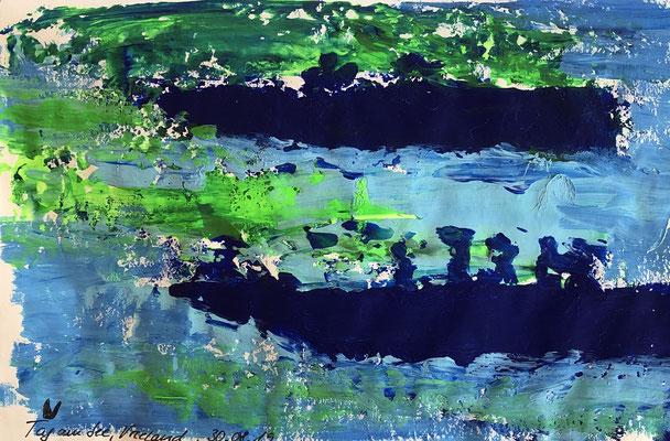 Ein Tag auf dem Boot auf dem Wijde Blik 3, Vreeland/ Niederlande, 20 x 12 cm, Acryl auf Papier