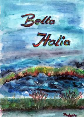 Ausflug ins Podelta, 27 x 37 cm, Acryl auf Bucheinband