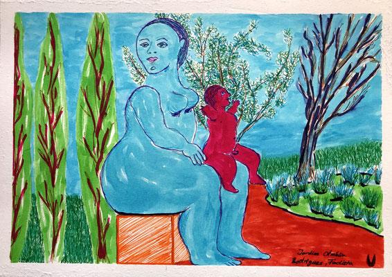 Mutter mit Kind, nach Fernando Boteros Plastik.