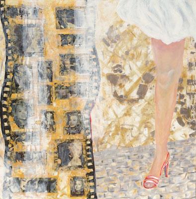 Schöner Schein 1, Collagen und Acryl auf Leinwand, 100 x 100 (Murnau 2012)