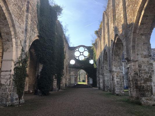 Kirchenfassade aus dem Langhaus der Abtei in den Le Vaux-de-Cernay.