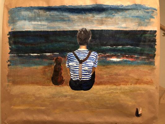 MEINE LIEBLINGE AM STRAND, 70 cm x 60 cm, Acryl auf Packpapier