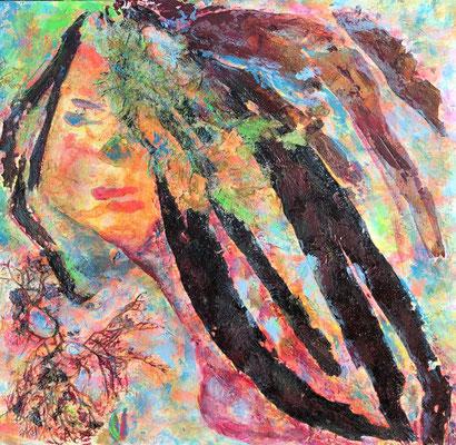 Keltische Sirenen, Edana (kleines Feuer), Algen in Acryl auf Karton. 40 x 40 cm, Bretagne 05/19