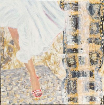 Schöner Schein2, Collagen und Acryl auf Leinwand, 100 x 100 (Murnau 2012)