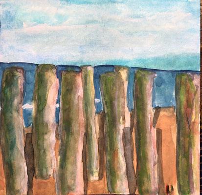 Domburg am Strand, 20 x 20 cm, Aquarell auf Papier