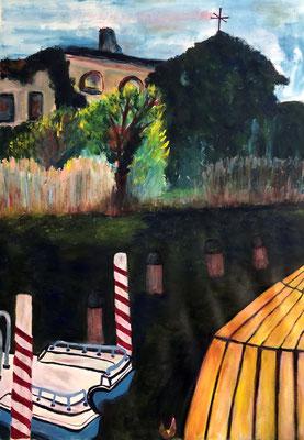 Canal Bianco, 48 x 67 cm, Acryl auf Papier