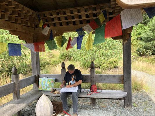 Wir machen eine Pause im Burmesischen Pavillion und sketchen ein bisserl.