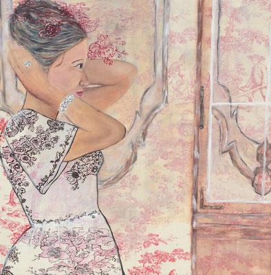Wichtige Frauen 1 - Muddern und Audrey, Acryl auf Stoff & Leinwand, 100 x 100 (Murnau 2013)