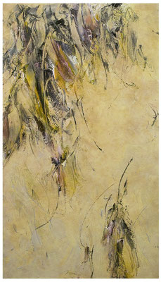 Skriptur 19.10.2018 Kunstharz, Steinmehl, Acrylfarbe, Ölfarbe auf Aluminium 52 x 29,5 cm