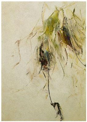 Blütenlese 23.10.2018  Kunstharz, Steinmehl, Acrylfarbe, Ölfarbe auf Aluminium 42 x 29,5 cm