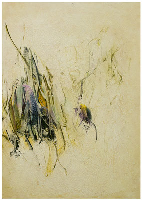 Blütenlese 25.10.2018  Kunstharz, Steinmehl, Acrylfarbe, Ölfarbe auf Aluminium 42 x 29,5 cm