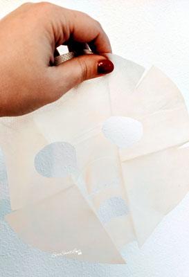 Texture Maschera viso in tessuto doppio strato tenuta in mano e aperta Biogenya