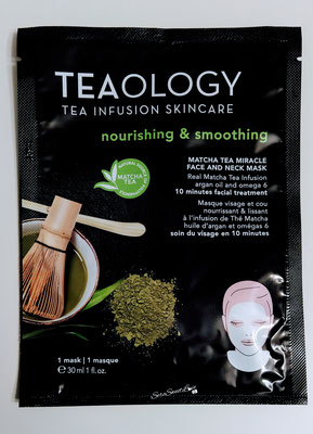 Fronte  confezione maschera viso e collo al tè matcha Teaology
