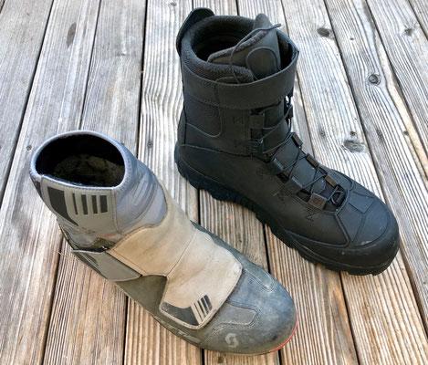 Größenvergleich: beide Schuhe sind Winterradschuhe in Größe 48!