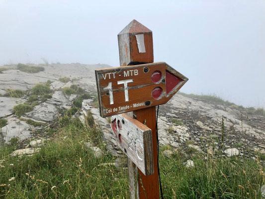 Wegweiser zum Col de Tende