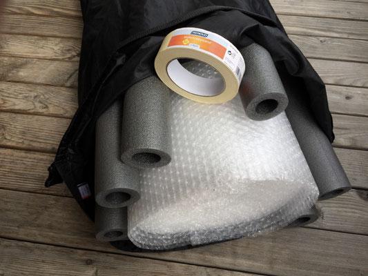 Packsack, Noppenfolie, Isolierung, Rohre, Malerkrepp