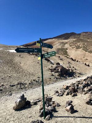Weggabelung Montana Blanca (Aufstieg Gipfel / Abstieg Parkplatz)