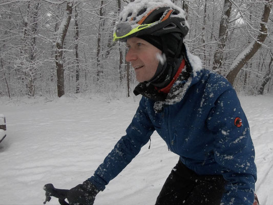 unterwegs bei Schneefall