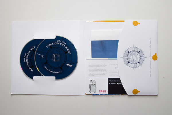 individuell gestaltete CD-Verpackung mit Prägung und zusätzlichem Werbematerial