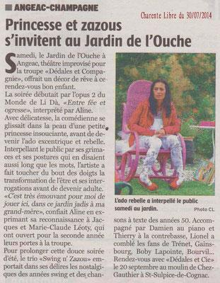 La Charente Libre du 30 juillet 2014