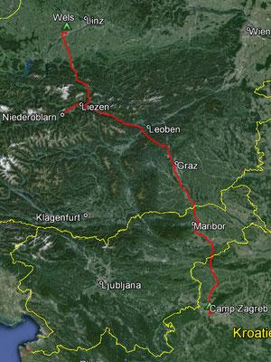 Aufgezeichneter Track aus meinem GPS, 434 km